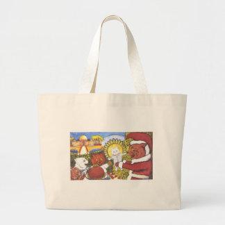 Santa Cat and Friends Artwork by Louis Wain Large Tote Bag