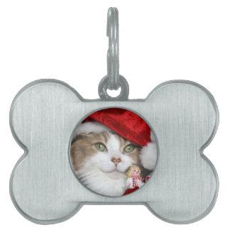 Santa cat - christmas cat - cute kittens pet ID tag