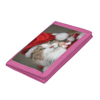 Santa cat - christmas cat - cute kittens tri-fold wallet