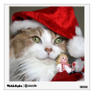 Santa cat - christmas cat - cute kittens wall decal