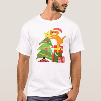 Santa Cat & Christmas Tree T-Shirt