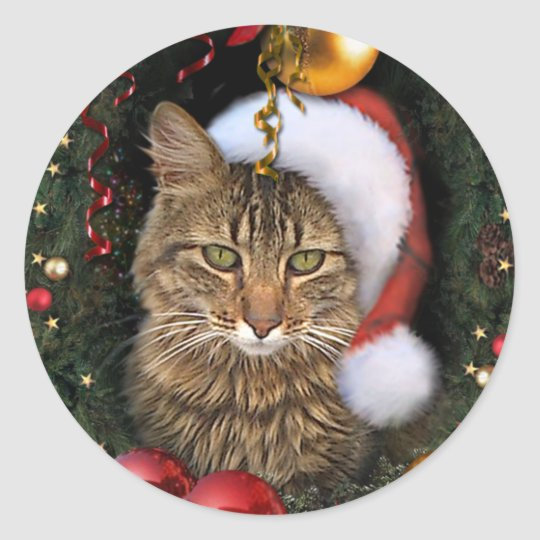 Santa Cat Gift Tag