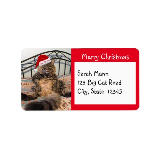 Santa Cat Merry Christmas Address Labels