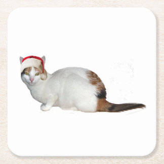 Santa Cat Square Paper Coaster