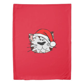 Santa Cat Twin Size Duvet Cover
