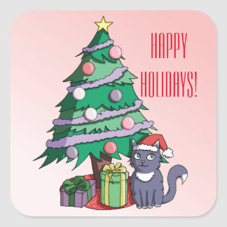 Santa Cat Under a Christmas Tree Square Sticker
