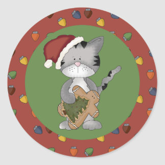 Santa Cat with Gingerbread Man Round Sticker