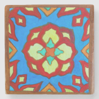 Santa Catalina Island Tile Magnet on Marble Lotus Stone Coaster