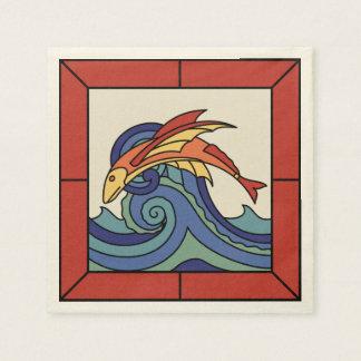 Santa Catalina Island Vintage Flying Fish Tile Disposable Napkin