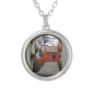 Santa Catalina Monastery in Arequipa Peru Silver Plated Necklace