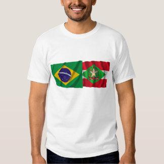 Santa Catarina & Brazil Waving Flags Tee Shirts