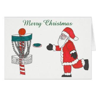 Santa Cause playing disc golf Christmas card