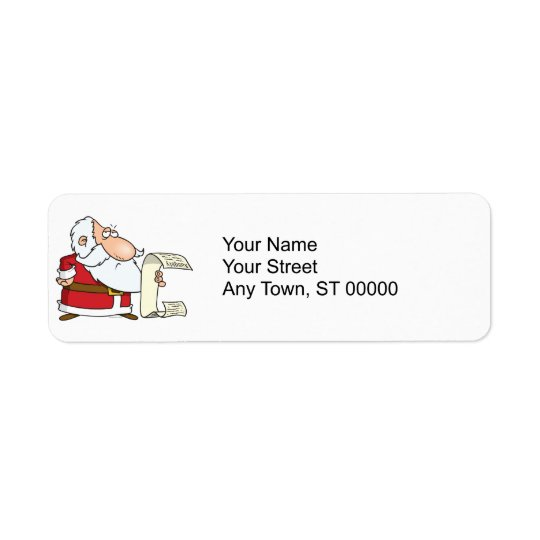 santa checking the naughty list return address label