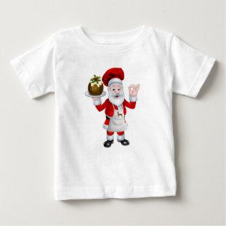 Santa Chef Holding a Christmas Pudding Baby T-Shirt