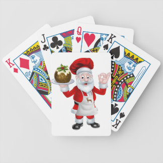 Santa Chef Holding a Christmas Pudding Bicycle Playing Cards