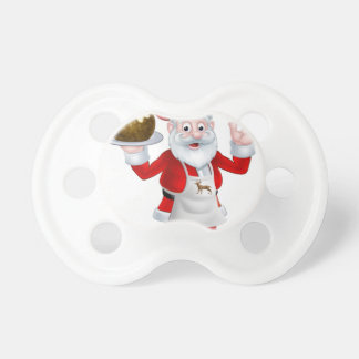 Santa Chef Holding a Christmas Pudding Pacifier