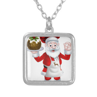 Santa Chef Holding a Christmas Pudding Silver Plated Necklace