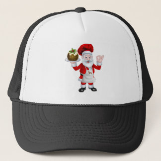 Santa Chef Holding a Christmas Pudding Trucker Hat