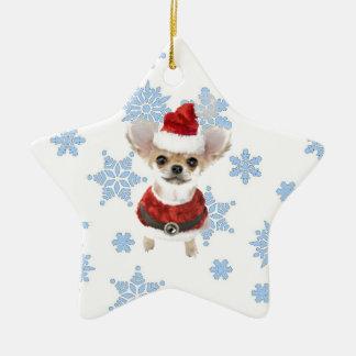 Santa Chihuahua Ceramic Ornament