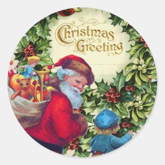 SANTA,CHILD,CHRISTMAS CROWN,HOLLYBERRY,MISTLETOES CLASSIC ROUND STICKER
