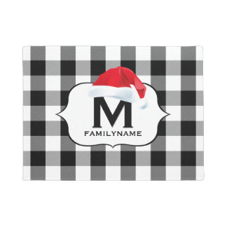 Santa Christmas Black White Buffalo Check Monogram Doormat