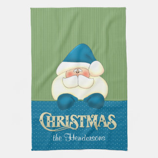 Santa Christmas Blue and Green Cook's Kitchen Towel