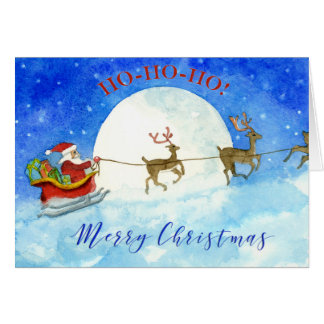 Santa Christmas Card in watercolour