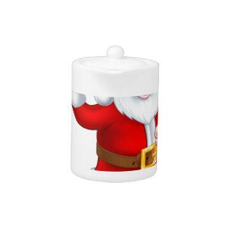 Santa Christmas Cartoon Holding Food Platter