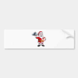 Santa Christmas Cartoon Holding Food Platter Bumper Sticker