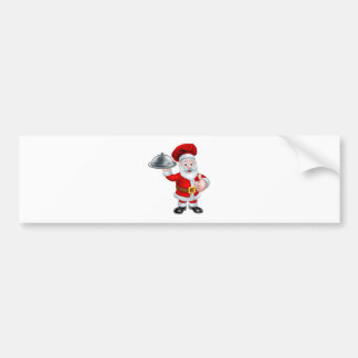 Santa Christmas Chef Holding Plate of Food Bumper Sticker