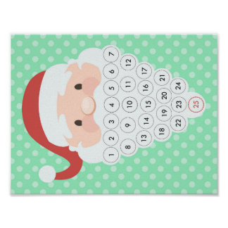 Santa Christmas Countdown Advent Calendar Beard Poster