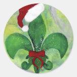 Santa Christmas Fleur de lis Holiday Card Round Sticker