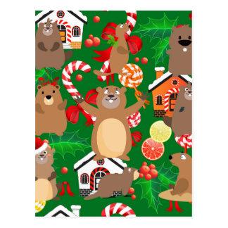 Santa christmas gopher postcard