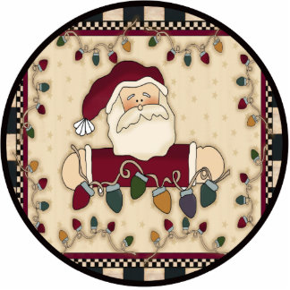 Santa Christmas Lights Ornament Photo Cut Out