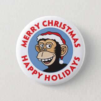 Santa Christmas Monkey 2 Inch Round Button