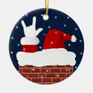 Santa Christmas Ornament w/ I Love You in ASL