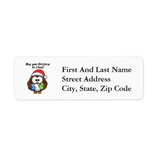 Santa Christmas Owl Return Address Label