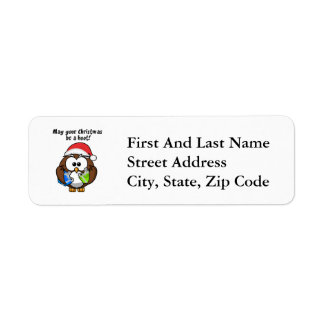 Santa Christmas Owl Return Address Label