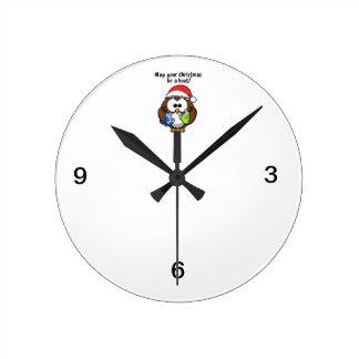 Santa Christmas Owl Round Clock