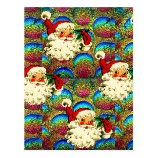 SANTA CHRISTMAS PATTERN POSTCARD
