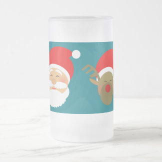 Santa & Christmas Reindeer Cartoon Cute Funny Cool Frosted Glass Beer Mug
