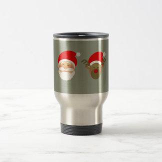 Santa & Christmas Reindeer Cartoon Cute Funny Cool Travel Mug