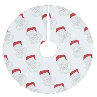 Santa Christmas White Minimalist Design Cute Gift Brushed Polyester Tree Skirt