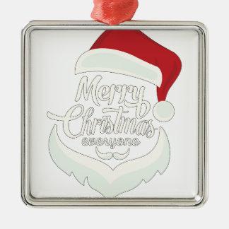 Santa Christmas White Minimalist Design Cute Gift Metal Ornament