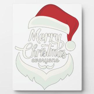 Santa Christmas White Minimalist Design Cute Gift Plaque