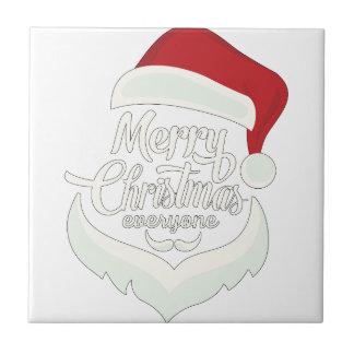 Santa Christmas White Minimalist Design Cute Gift Tile