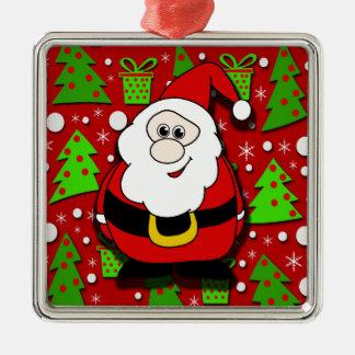 Santa Claus  3 Silver-Colored Square Ornament