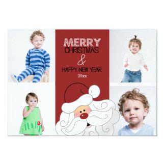 "Santa Claus 4-Photo 5x7 Christmas Card 5"" X 7"" Invitation Card"