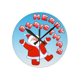 Santa Claus 5 Round Clock