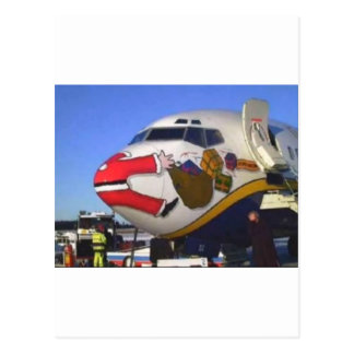 SANTA CLAUS AIRLINER MID-AIR POST CARD
